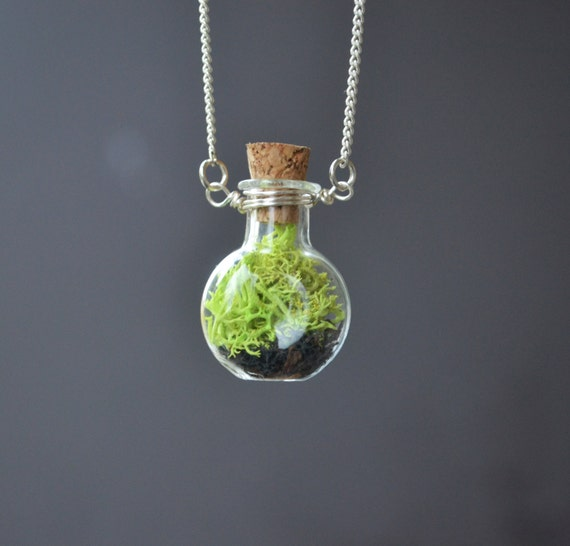 Moss necklace plant necklace plant jewelry tiny by lovenlavish for Gemsprouts tiny plant jewelry