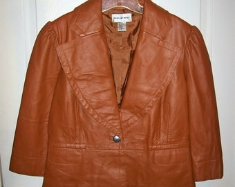Vintage Ladies Brown Leather Blazer Jacket by Newport News Medium Only 14 USD