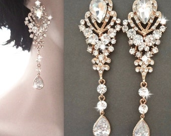 Long gold rhinestone earrings - Gold Chandelier earrings - Brides earrings - Gold Statement earrings - Pageant earrings - Crystal earrings -