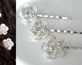 Crystal rhinestone hair pins ~ Set of 2 ~ Wedding hair pins ~ Hair accessory ~ Hair jewelry ~ Sparkly ~ Bouquet pin ~ ROSIE ~