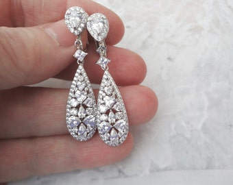Clip on crystal bridal earrings, AAA Zirconia's, Clip on wedding Earrings, High quality,Clip on brides earrings,Clip on earrings for a bride