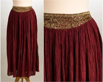 """Gold and Wine Sequined Gypsy Skirt. Size Medium. """"Funky People"""" brand."""
