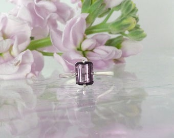 Purple Tourmaline, Tourmaline Ring, Tourmaline Sterling Ring, Purple Gemstone Ring, October Birthstone, Emerald Cut Ring, Tourmaline