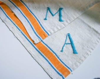 """Grain Sack Linen Fabric Placemats, Gold Yellow Blue French Striped, Embroidered Initials """"M"""" & """"A"""""""