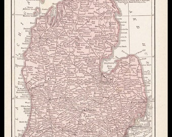 Small Michigan Map (Antique State Decor, Early 1900s Rand McNally Map) No. 49-3