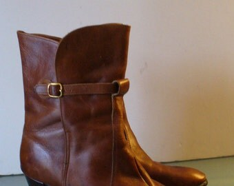 Cognac Leather Heeled Boots