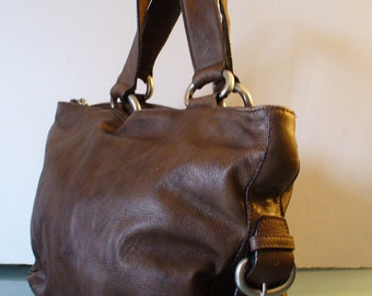 Vintage Chocolate Brown Lupo Satchel Tote Purse
