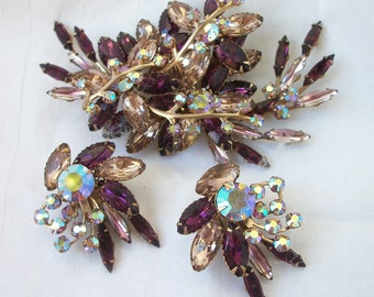 Large Vintage Brooch & Earrings Set ~ Massive Sized ~ SPARKLING Purple ~ Pinks RHINESTONES ~ Over the Top STATEMENT Costume Jewelry