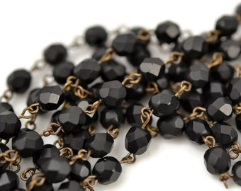 Rosary Chain - 6mm Matte Black Beads on Brass Ox Links - Czech Jet Black Bead Chain -  3 Feet