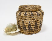 Vintage Basket Jar / Lidded Basket, Boho / Tribal Storage, Home Decor