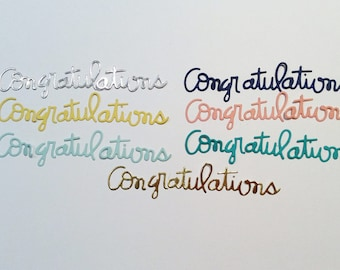 Handmade, 7 Congratulations Words, Die Cuts, Gold, Silver, Yellow, Turquoise, Navy Blue, Light Blue, Light Orange, 3 Pieces, Sizzix