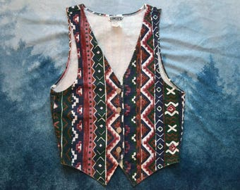 Vintage 90s Geometric Patterned Denim Vest Made in USA