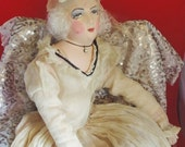 Antique Flapper French Boudoir Doll Hand Painted Face