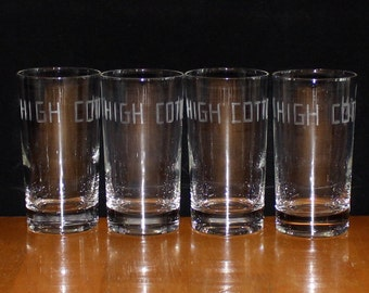 Vintage, Set of 4, High Cotton, Etched Tumblers, Highball Glasses