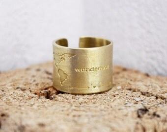 Travel Ring / Gift for Women / World Map Ring / Wanderlust / Send off Gifts / Handmade Ring With World Map Engraving / Traveler Gift