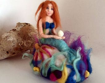 Needle felted mermaid art doll soft sculpture felted coral reef Waldorf style decoration