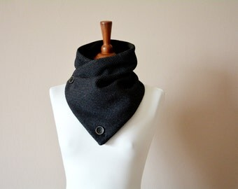 Black cowl scarf, Gift for him, Grey cowl scarf, Men's gift, Unisex gift, Holiday gift, Grey neckwarmer, Wool scarf, Wool cowl, Black scarf