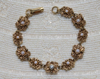 VINTAGE Circa 1950s / 1960s Mid Century Graceful Victorian Revival Bracelet - Signed FLORENZA - Faux Pearls and Rhinestone