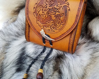 Leather belt pouch with dragon design, made to order