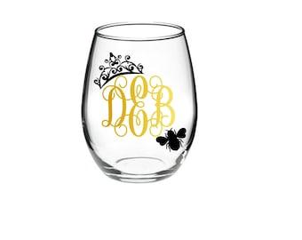 Queen Bee -Queen Bee Monogram - Monogram Wine Glass - Bumble Bee -  21 oz stemless wine glass