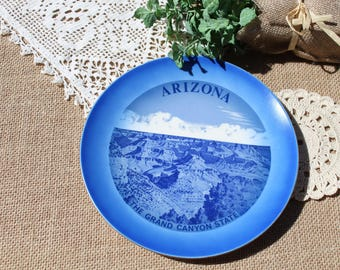 Arizona State Plate blue Arizona plate souvenir plate The Grand Canyon State
