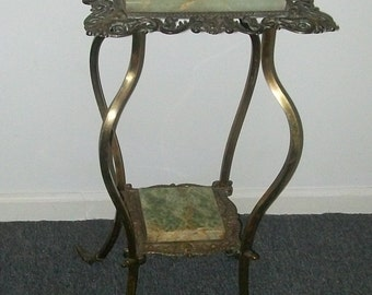 Victorian Plant Stand Brass with Onyx Inserts Cherubs