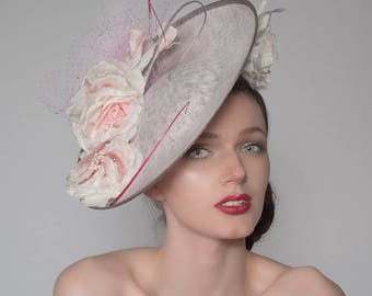 Silver Baby Pink and Ivory Crystal Disc Royal Ascot Hat Headpiece Fascinator FG0809 Mother of the Bride Wedding Ideas Epsom Racing Fashion