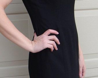 vintage BLACK SHEATH DRESS pearl sleeves S P (A7)