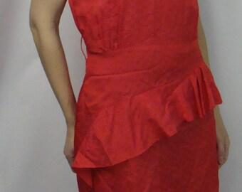RED 1980's ASYMMETRIC RUFFLE dropped waist dress 80's S
