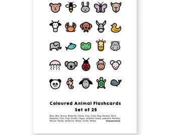 Coloured Animal Flashcards