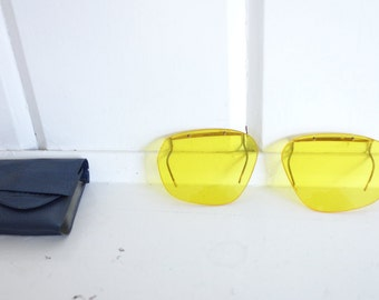 Vintage  YELLOW LENS Gonzo Hunter S Thompson Fear n Loathing Aviator Shooting Clip on Sunglasses With Case Bartex Made in Germany