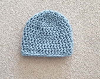 Basic Crochet  Newborn Hat Photo Prop Girl Boy Baby Infant Toddler Made to Order - Azure