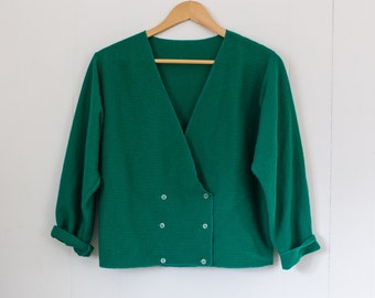 Vintage green sweater / size small / made in Paris / France.
