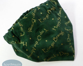 Erin go Braugh St Patricks Dog Bandana, Scrunchie Dog Bandana, Medium/16 inch neck