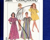 Vintage 1989 Simplicity Pattern 9209 Every Body Cover Up or Dress with Wide Neckline Short Angel Winglike Raglan Sleeves M to XXL  UNCUT