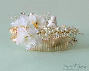 gold bridal flower hair comb. white and gold jeweled haircomb with pearl beads and glass crystals. flower wedding headpiece
