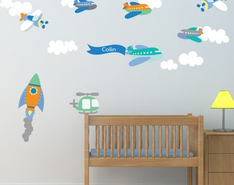 Planes Decal, Rocket Decal, Cars Decal, Nursery Decal, Boys Decal, Ecofriendly No Toxins No PVCs Decals, WD800s