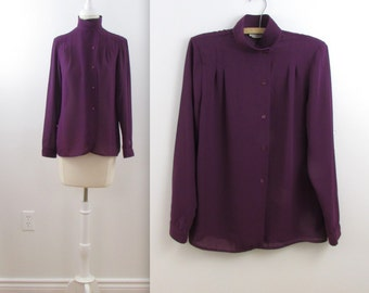 Dark Orchid Blouse - Vintage 1980s Chiffon Top in Deep Purple in Medium Large by Chocolat