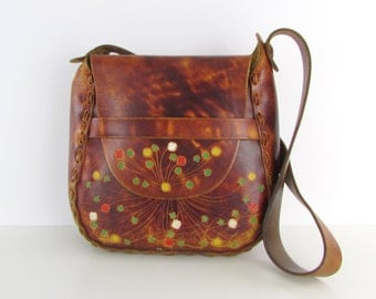 Tooled Leather Saddle Bag - Vintage 1970s Boho Festival Purse