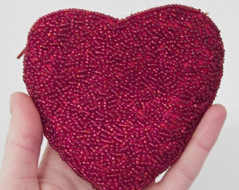 BEADED Heart Purse Coin Change Pouch Zip Top Red Beads Embellished