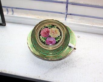 Paragon Tea Cup and Saucer Green with Chrysanthemums Bone China