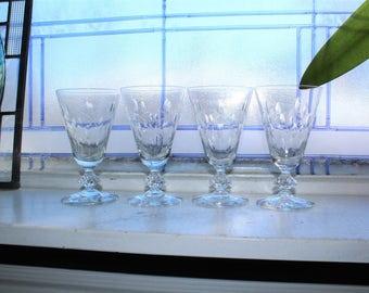 4 Fostoria Wine Glasses Elegant Glassware
