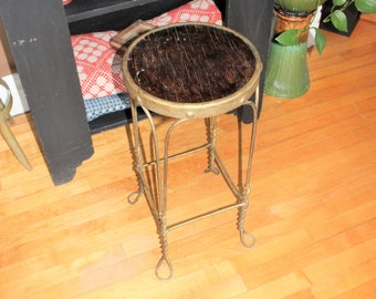 Vintage Ice Cream Parlor Stool Wrought Iron and Wood Rustic Farmhouse