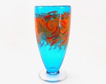 Hand Blown Art Glass Ocean Vase in Aqua Blue