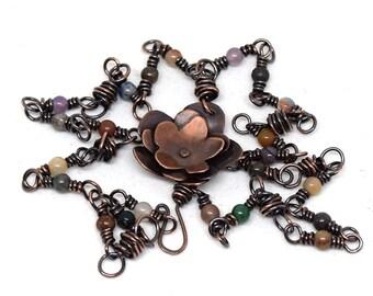 Copper layered Blossom Flower Pendant with Multicolor stone chain