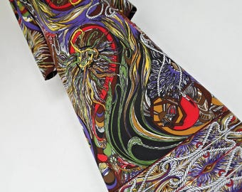 SALE:))) THE PSYCHEDELIC World . Show Stopping Surreal Print Maxi Dress 70s Colorful Bright Italy Saul Villa Design