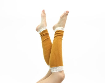Lace Leg Warmers, Womens LegWarmers, Boot Socks Toppers, Long Leg Warmers, Mustard Yellow, Knee High Socks, Yoga Gift for Her, Womens Gift