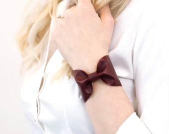 Bow Bracelet Wrist Cuff, Burgundy Maroon Vegan Leather BowTie, Scarf Cuff, Wide Womens Wrist Band Tattoo Cover Up,  Womens Gift for Her