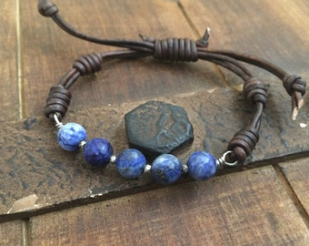 Lapis Lazuli and sterling silver leather bracelet, knotted boho rustic jewelry