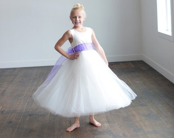 The Lilac organza flower girl dress, first communion dress, junior bridesmaid dress, with lilac organza sash